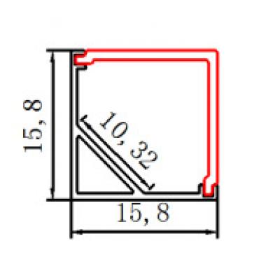 Светодиодный угловой (LED) профиль анодированный с экраном 8х6.5мм