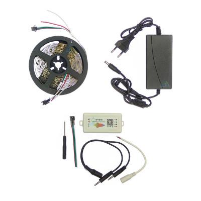 Комплект управляемой светодиодной ленты с блютуз звукоактивным контроллером SPI WS2811 SMD 5050 RGB (Многоцветная) 30 led/m - 5м