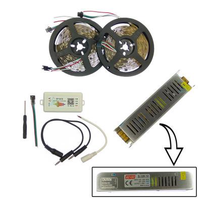 Комплект управляемой светодиодной ленты с блютуз звукоактивным контроллером SPI WS2811 SMD 5050 RGB (Многоцветная) 30 led/m - 10м