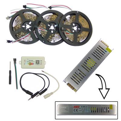 Комплект управляемой светодиодной ленты с блютуз звукоактивным контроллером SPI WS2811 SMD 5050 RGB (Многоцветная) 30 led/m - 15м