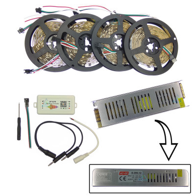Комплект управляемой светодиодной ленты с блютуз звукоактивным контроллером SPI WS2811 SMD 5050 RGB (Многоцветная) 30 led/m - 20м