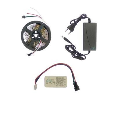 Комплект управляемой светодиодной ленты с блютуз контроллером SPI WS2811 SMD 5050 RGB (Многоцветная) 30 led/m - 5м