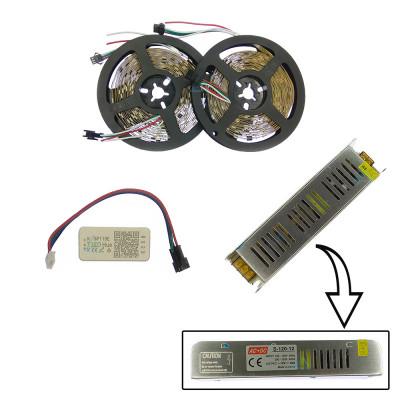 Комплект управляемой светодиодной ленты с блютуз контроллером SPI WS2811 SMD 5050 RGB (Многоцветная) 30 led/m - 10м