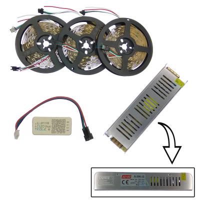 Комплект управляемой светодиодной ленты с блютуз контроллером SPI WS2811 SMD 5050 RGB (Многоцветная) 30 led/m - 15м
