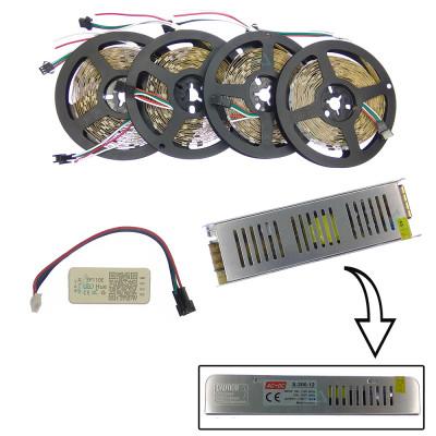 Комплект управляемой светодиодной ленты с блютуз контроллером SPI WS2811 SMD 5050 RGB (Многоцветная) 30 led/m - 20м