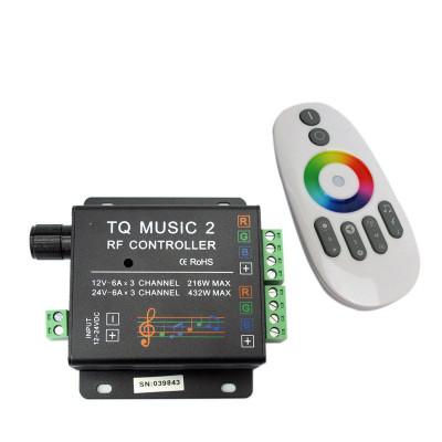RGB контроллер звукоактивный (music RF) 12В, 18А, Line in 3,5mm