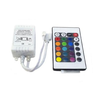 RGB контроллер с ИК пультом 24 кнопки 12В 6А