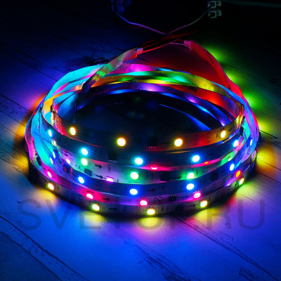 SPI Светодиодная лента WS2811 SMD 5050 RGB (Многоцветная) 30 led/m12V IP33 (Открытая)