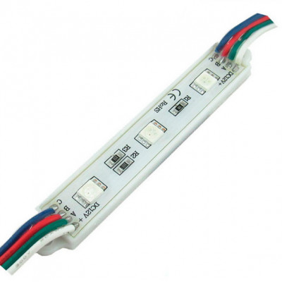 Светодиодный модуль (Кластер) SMD5050RGB (Многоцветный) x 3, 12 V, IP65, 76x14mm